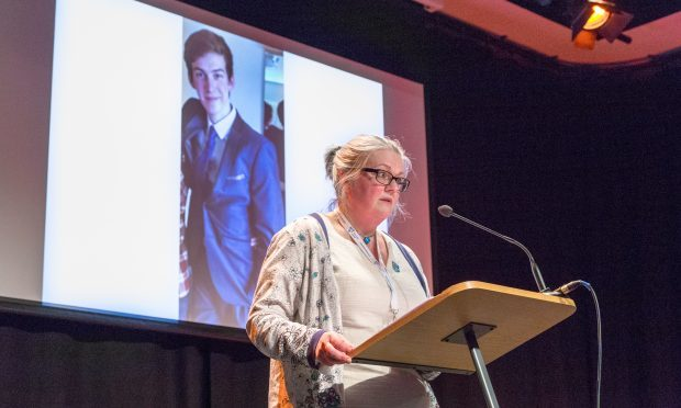 """Gillian Barclay spoke in honour of her """"darling son"""" Cameron Lancaster at a RoSPA water safety conference in Edinburgh."""