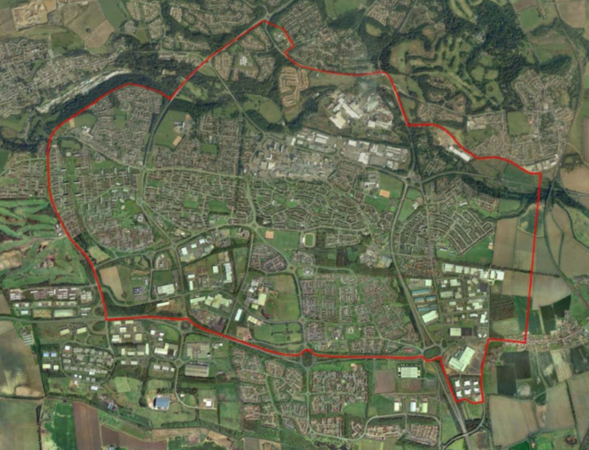 An aerial view of the area of Glenrothes to be covered by the heating system.