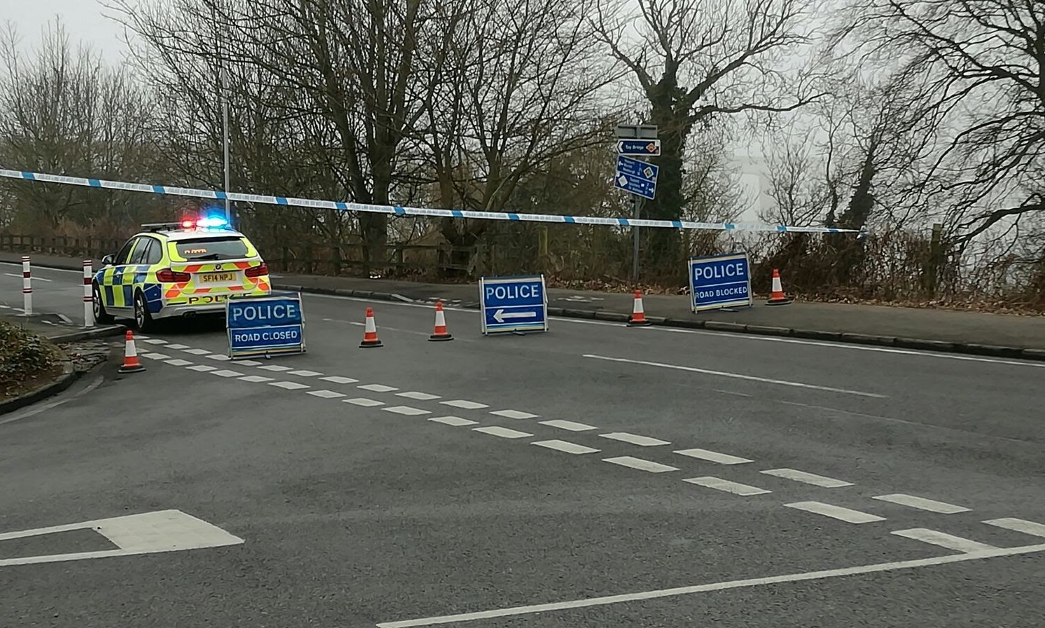 Police are blocking the road into Newport.