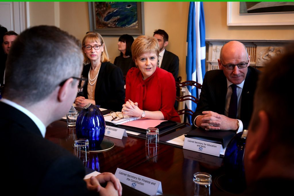 First Minister Nicola Sturgeon during a Scottish Government cabinet meeting in Bute House on March 14, in Edinburgh.