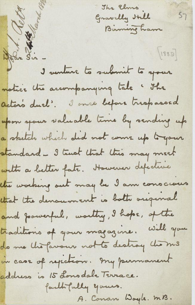 Letter to Blackwoods Magazine by Sir Arthur Conan Doyle.