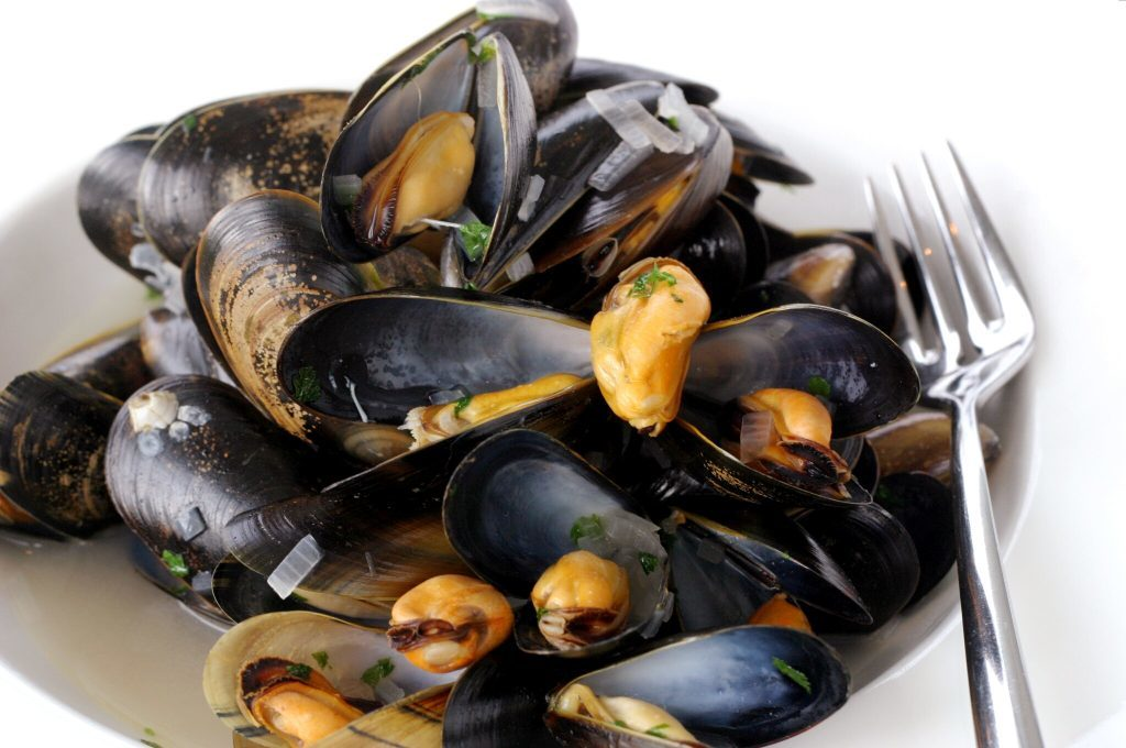 Steamed mussels at The Seafood Restaurant, St Andrews.