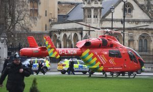An Air Ambulance outside the Palace of Westminster.