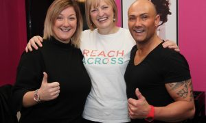 Sandra Ramsay (centre)   with choreographer JJ Christie and singer Danny Laverty.