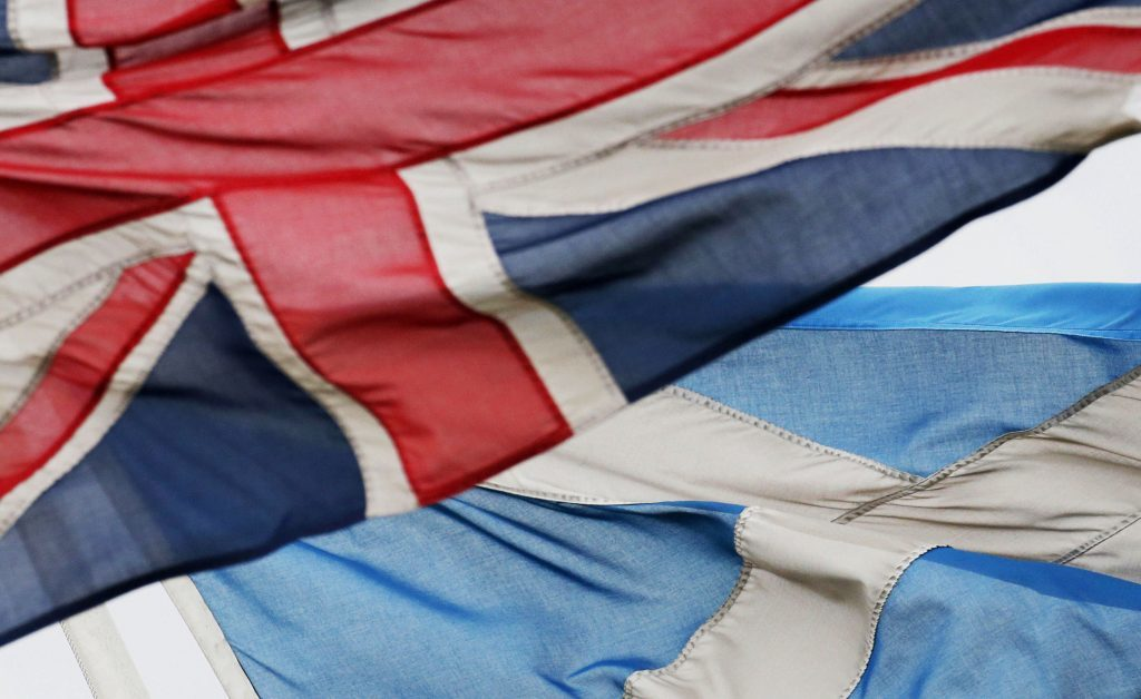 A Union Flag and Saltire Flag are pictured in Edinburgh ahead of the 2014 independence referendum