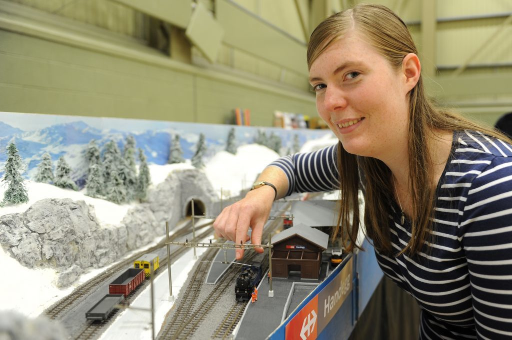 Kerry McKay with the model of part of the Swiss railway system made by Graham and Martin Arnold from Alyth at an exhibitioon in DISC, Dundee
