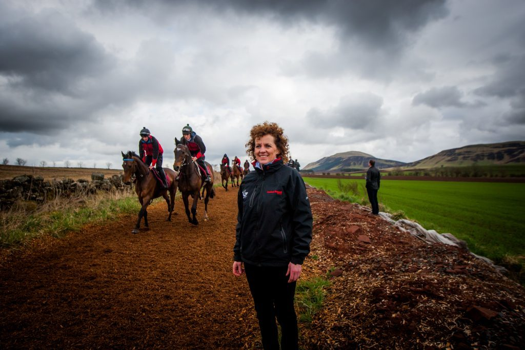 Lucinda Russell watching the training.