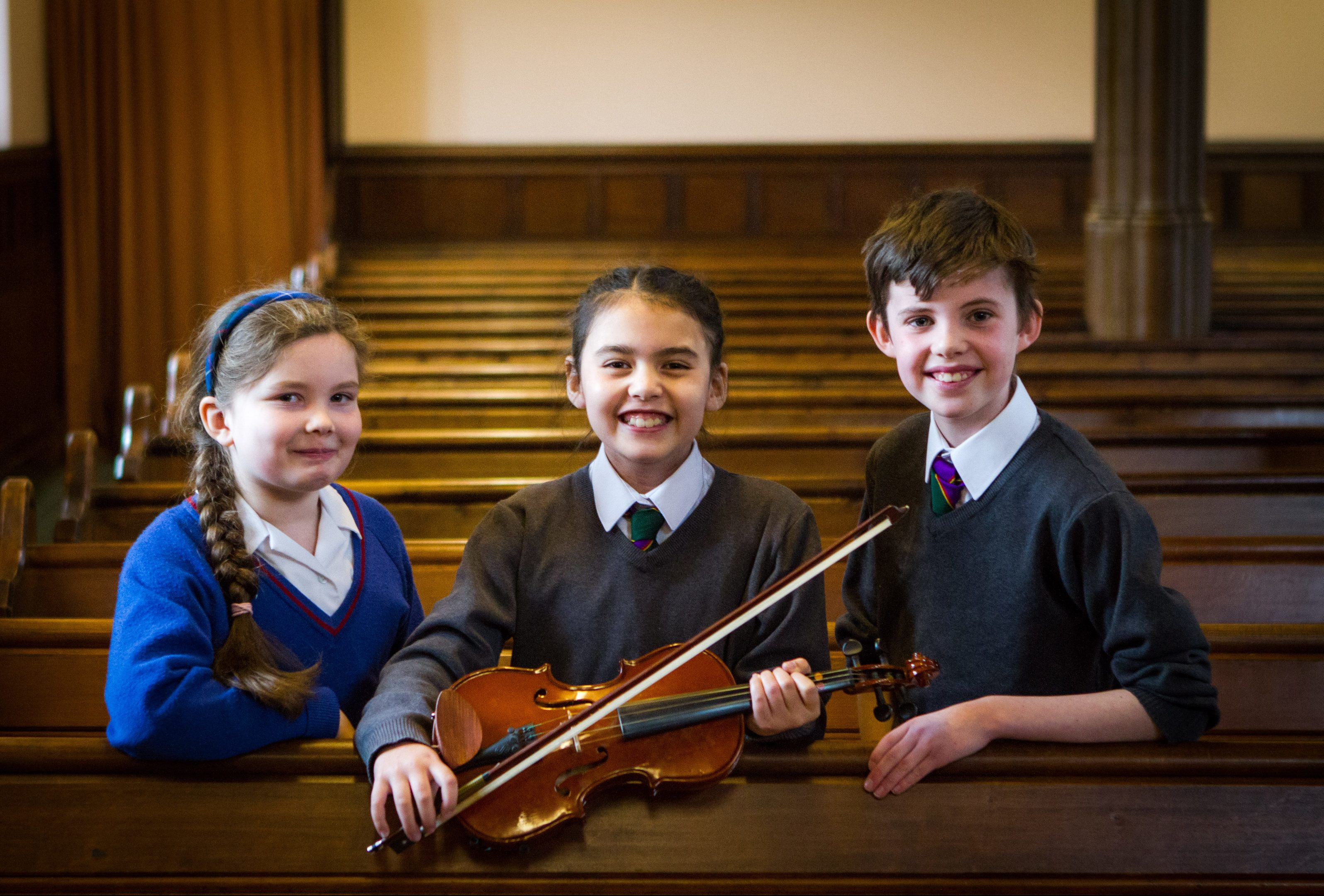 Picture shows the top three from strings, beginners class; (left to right is) Caitlin Jack (Craigclowan, placed 2nd), Martha Harvey (Kinross PS, placed 1st) and Callum Newton (Kinross PS, placed 3rd).