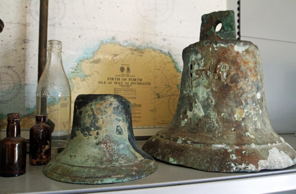 Mark Blyth, Managing Director of Dive Bunker in Burntisland recovered two bells from shipwrecks in the Firth of Forth.