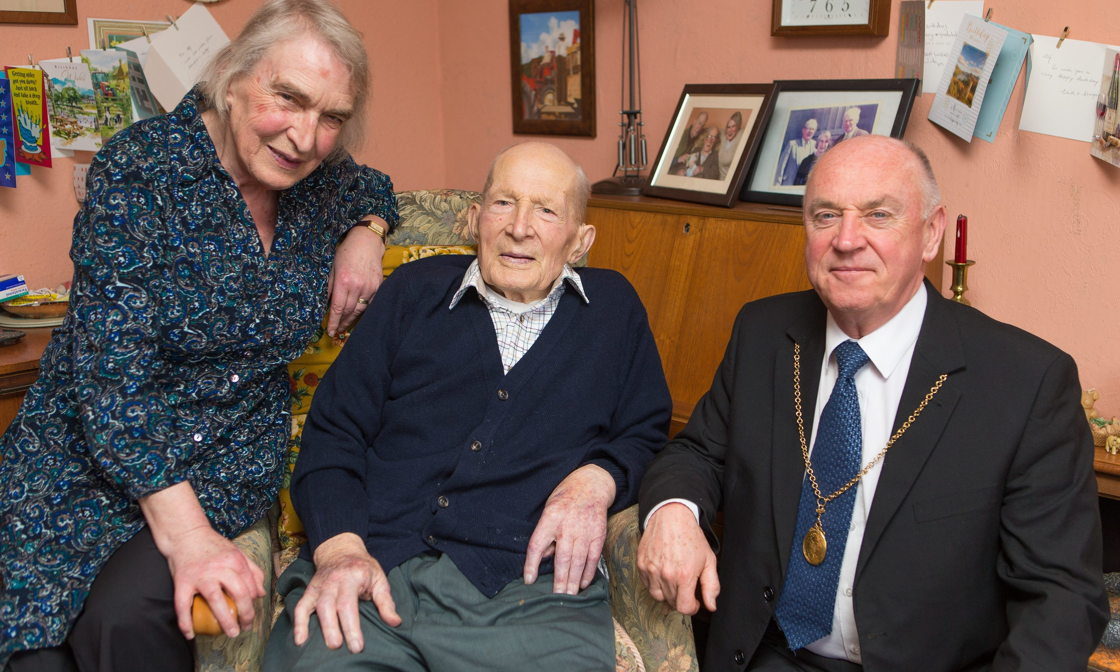 Mr Smith with daughter Irene Noble and Councillor Mac Roberts.