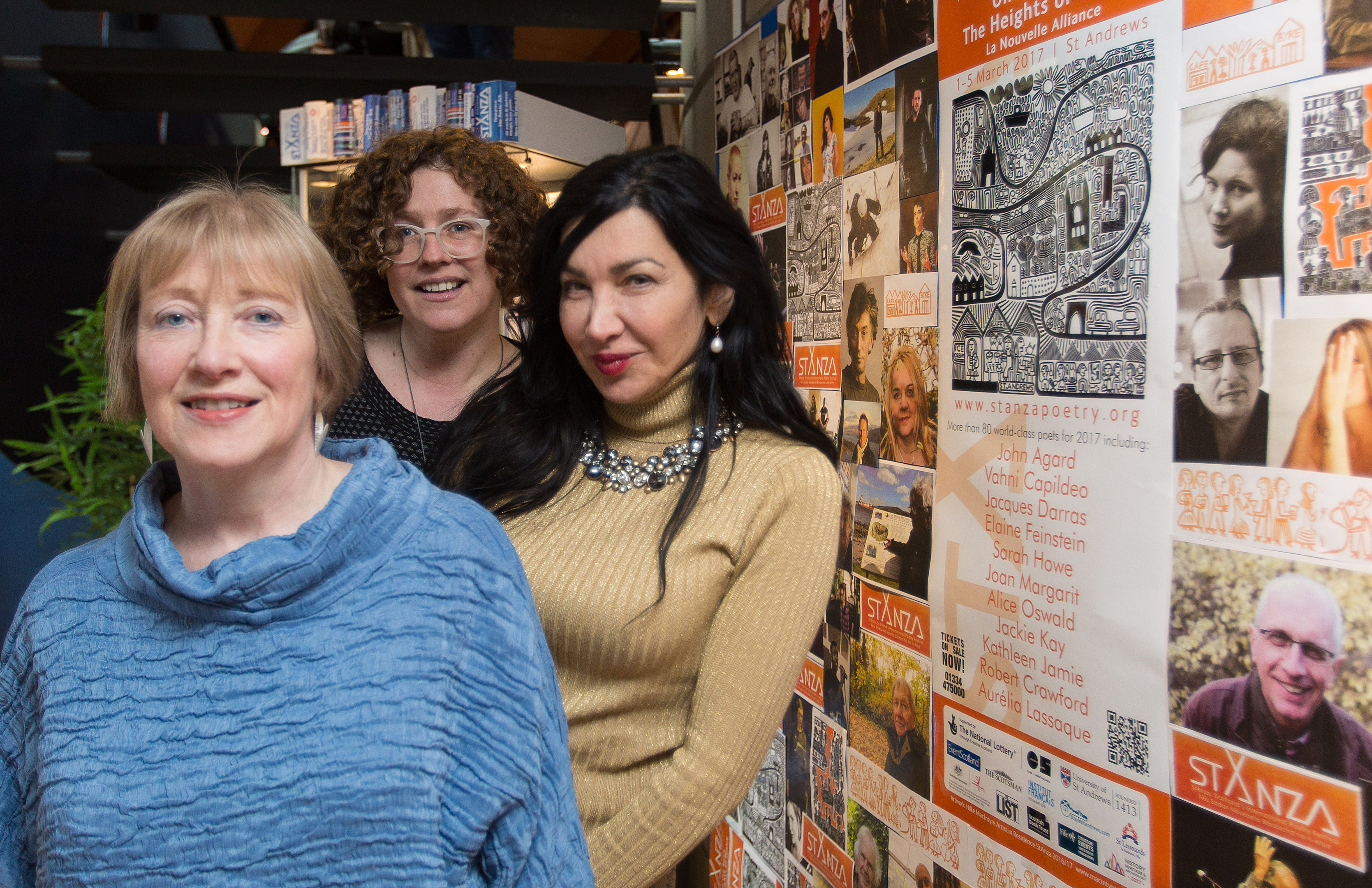 Eleanor Livingstone (Festival Director), Rachel Hazell (Artist in Residence) and Syrian poet Maram Al-Massri.