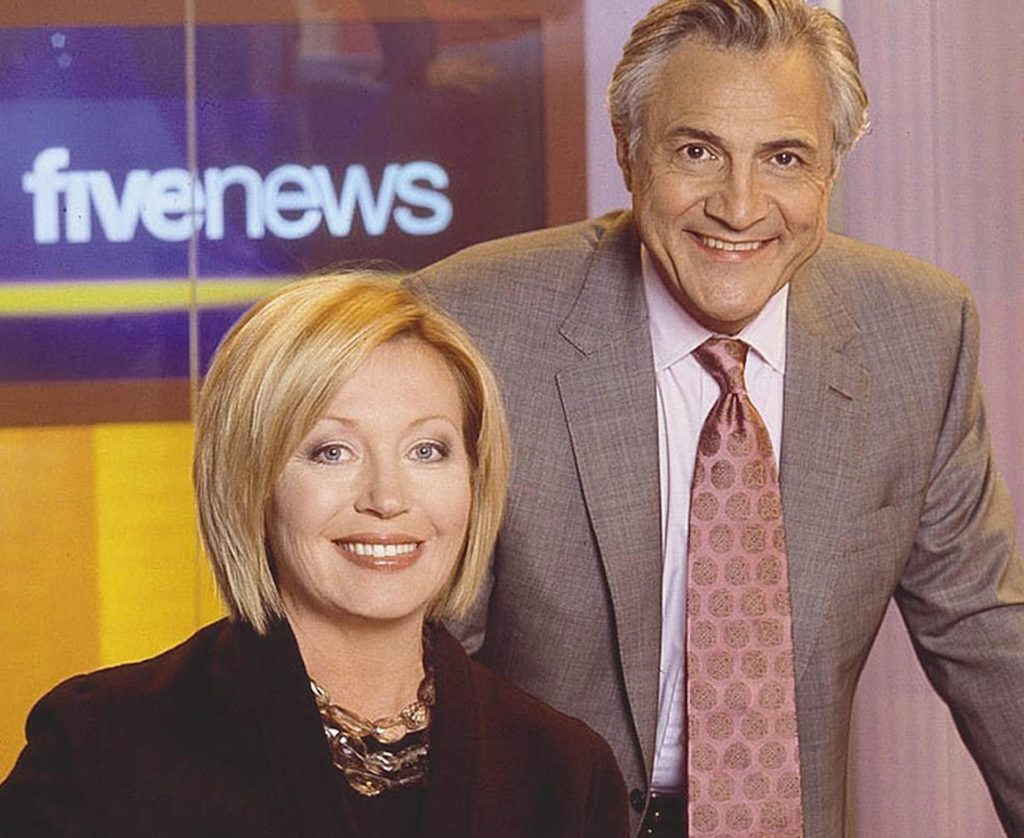 John Suchet with Kirtsy Young on Channel 5 News in 2005