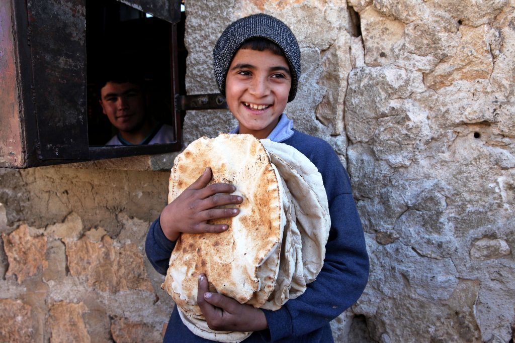 Mercy Corps is delivering flour to over 50 bakeries in Aleppo Governorate, Syria, where flour shortages have caused many bakeries to close or ration bread to the people. Syrians are going without bread in some villages for weeks, and bread has doubled in price since the war began, making it unaffordable for many families. Bread is the staple of the Syrian diet.