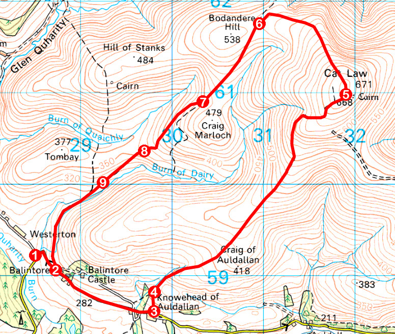 Take a Hike 156 - March 18, 2017 - Cat Law, Glen Quharity, Angus OS map extract