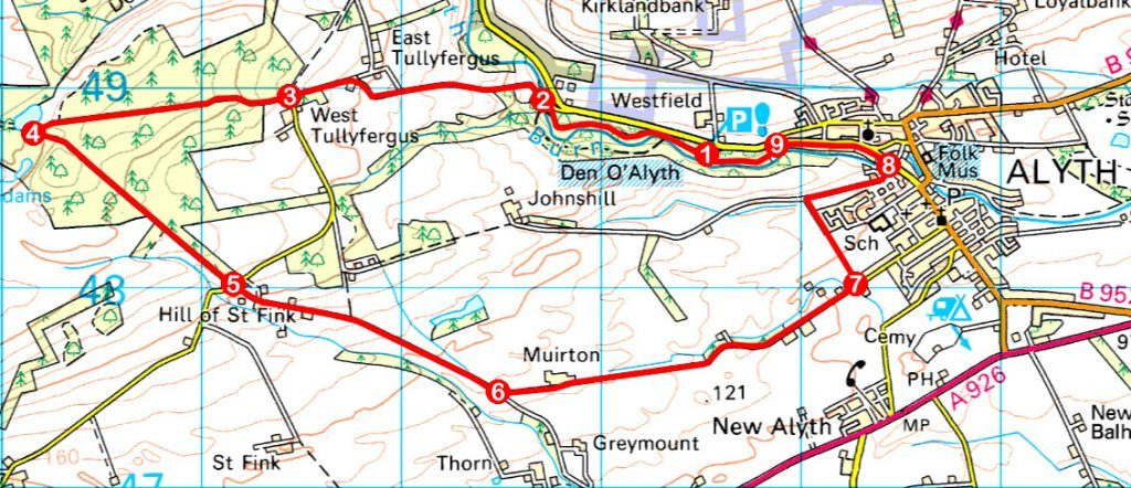 Take a Hike 157 - March 25, 2017 - Tullyfergus Wood, Alyth, Perth & Kinross OS map extract