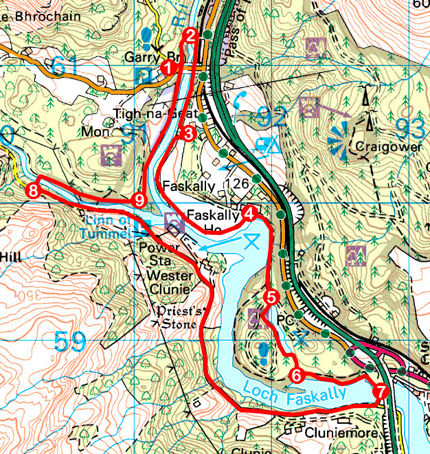 Take a Hike 158 - April 1, 2017 - Loch Faskally, Pitlochry, Perth & Kinross OS map extract