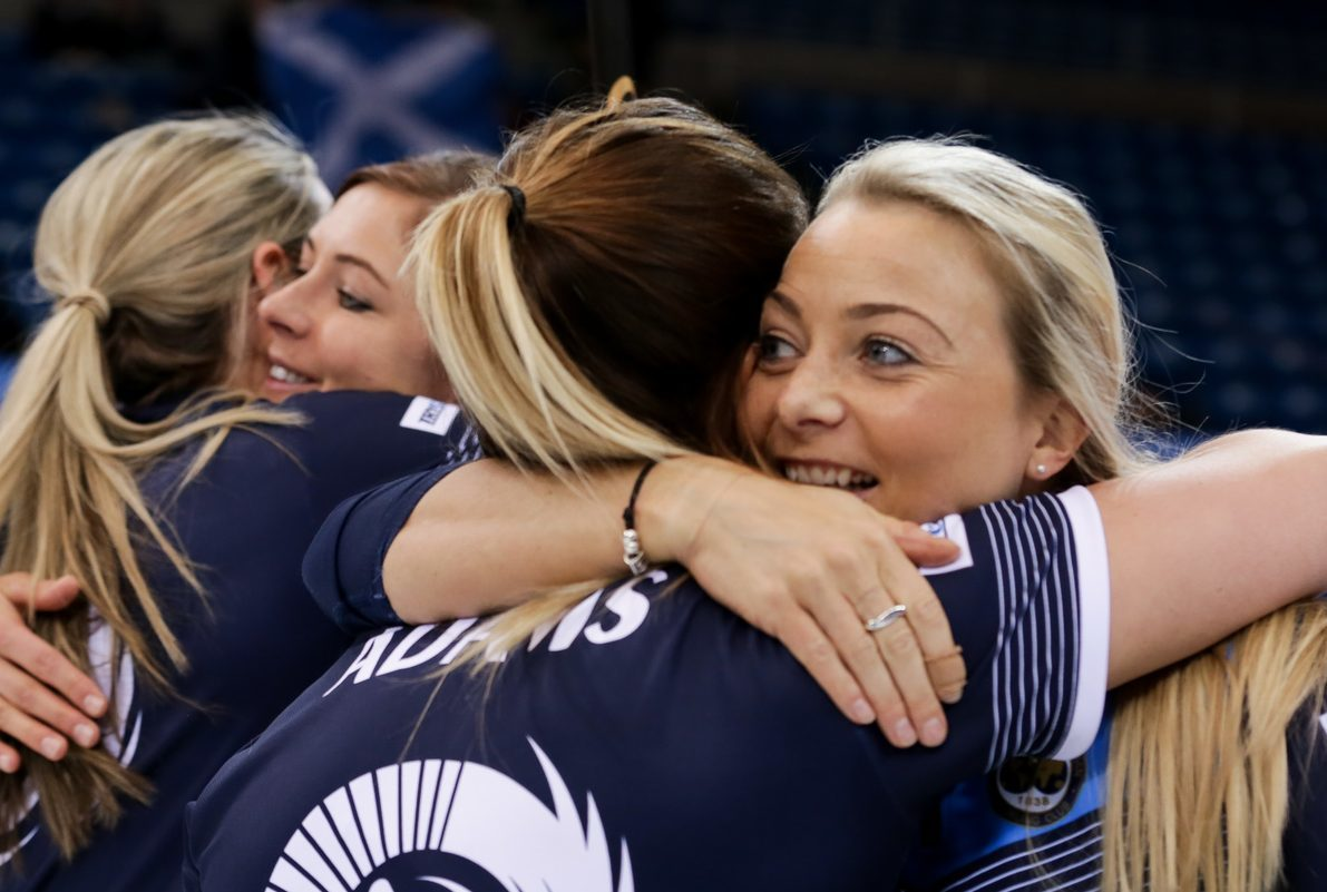 Eve and the girls celebrate their bronze medal win.