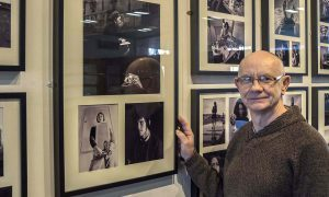 Walter Simms at his exhibition in Dundee University.