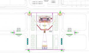 The plans show the stage will be set up on the north side of Slessor Square and facing the waterfront.