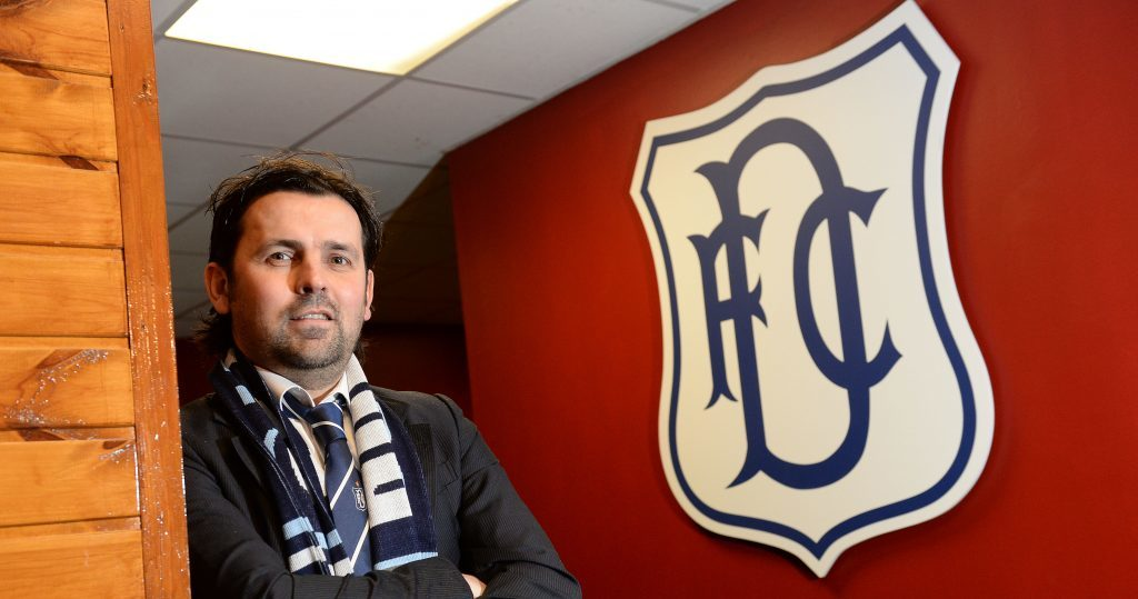 Paul Hartley the night he was appointed boss at Dens.