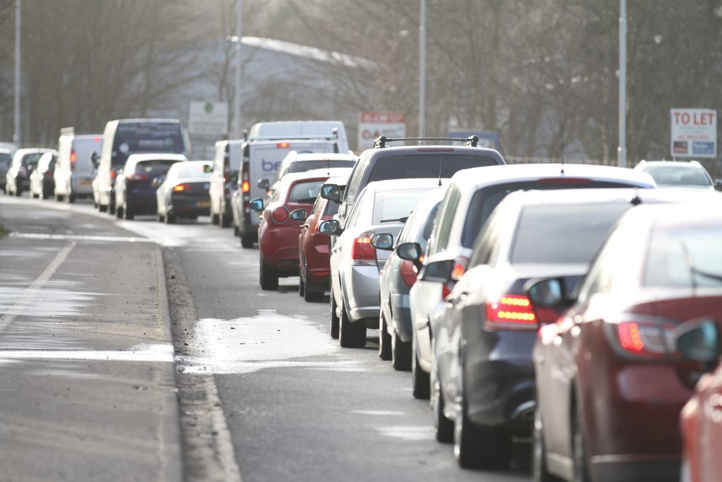 Traffic soon built up around the roads leading to the Forth Road Bridge.