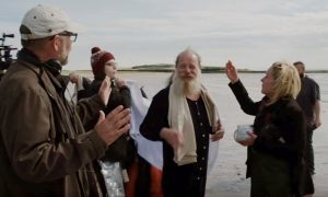 Peter Mullan (centre) during filming of Tommy's Honour in St Andrews.