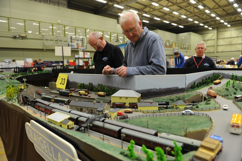 Neil Ellison and Gordon Kelman with a scale model of Cragellachie Station at a recent exhibition in DISC, Dundee