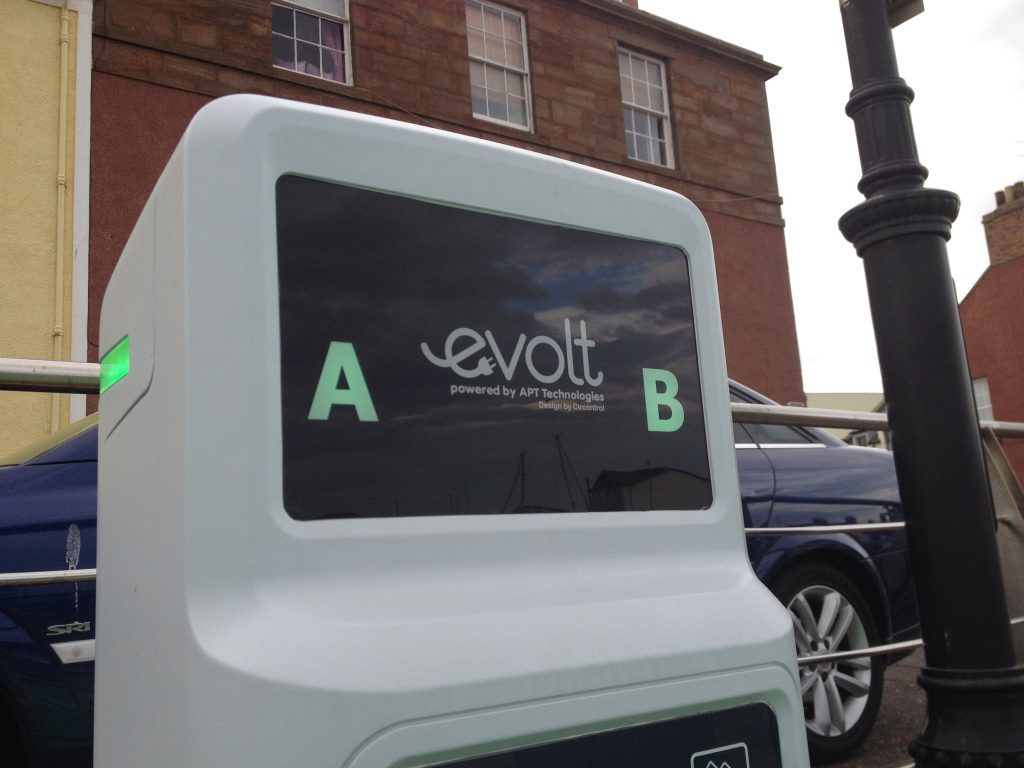 An electric vehicle charging point already in place in Arbroath.
