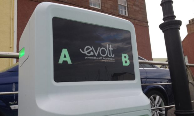 An electric vehicle charging point in place in Arbroath.