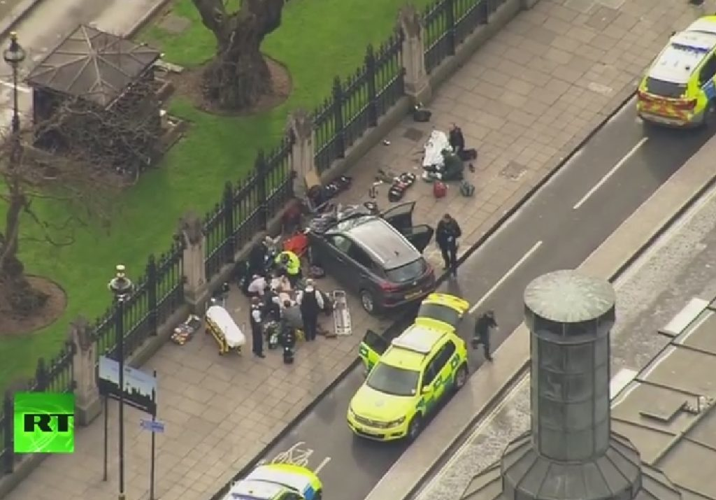 A car smashed into railings on the perimeter of the Palace of Westminster.