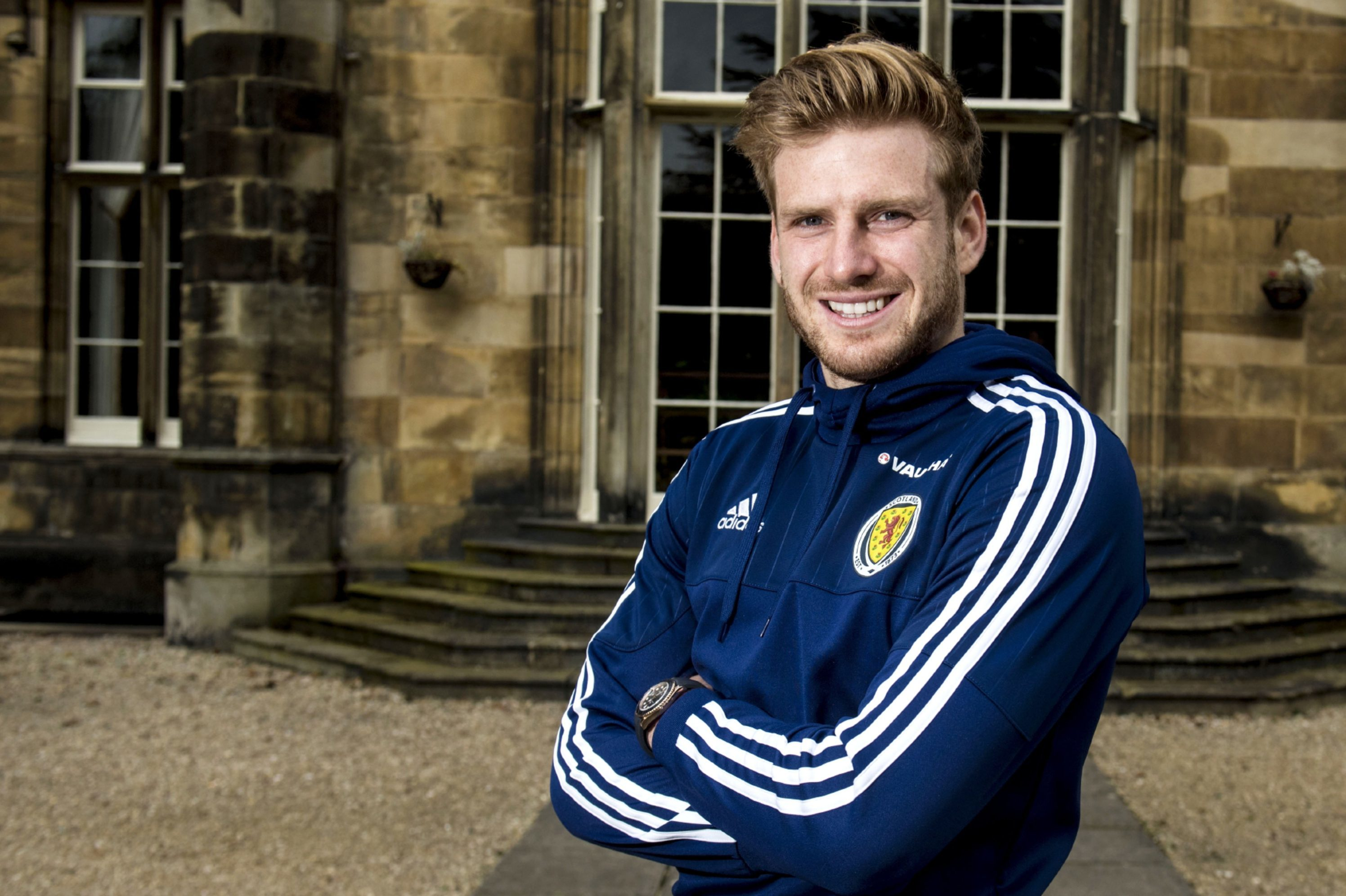 Stuart Armstrong takes a break from training.