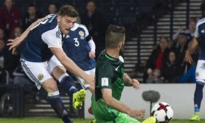 26/03/17 FIFA WORLD CUP QUALIFYING   SCOTLAND v SLOVENIA   HAMPDEN PARK - GLASGOW   Scotland's Chris Martin scores the winner for his side