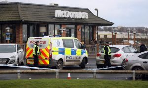 McDonald's Arbroath where five men were detained in connection with the ATM raid in Carnoustie.
