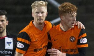 11/04/17 LADBROKES CHAMPIONSHIP DUNDEE UNITED v DUNFERMLINE TANNADICE - DUNDEE Dundee United's Thomas Mikkelsen (second from right) celebrates his goal with teammate Simon Murray.