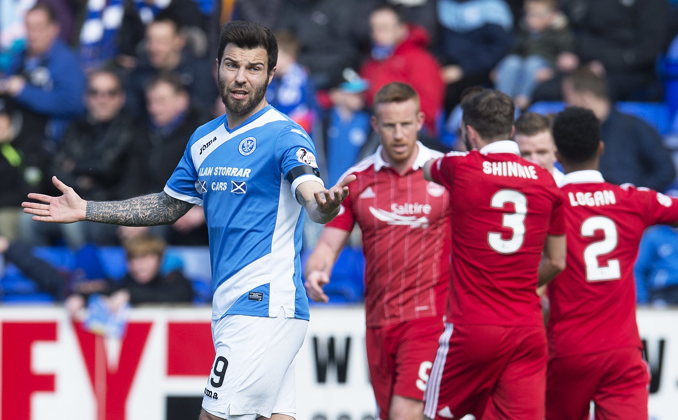 St Johnstone's Richard Foster is dejected after Aberdeen's second goal.