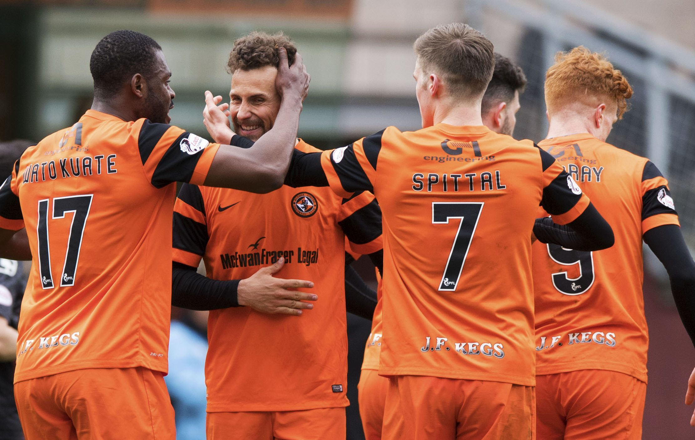 Tony Andreu is congratulated after his goal on Saturday.
