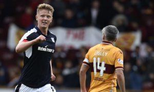 Dundee's Mark O'Hara celebrates scoring the opening goal.