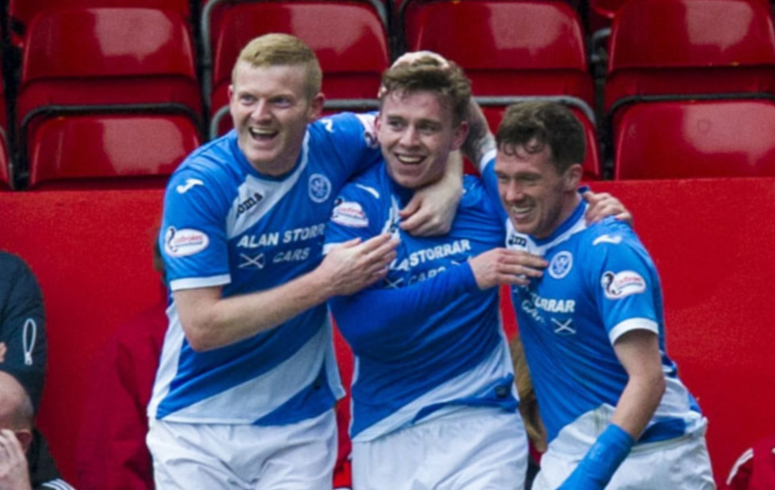 Craig Thomson, centre, is congratulated by Brian Easton and Danny Swanson.