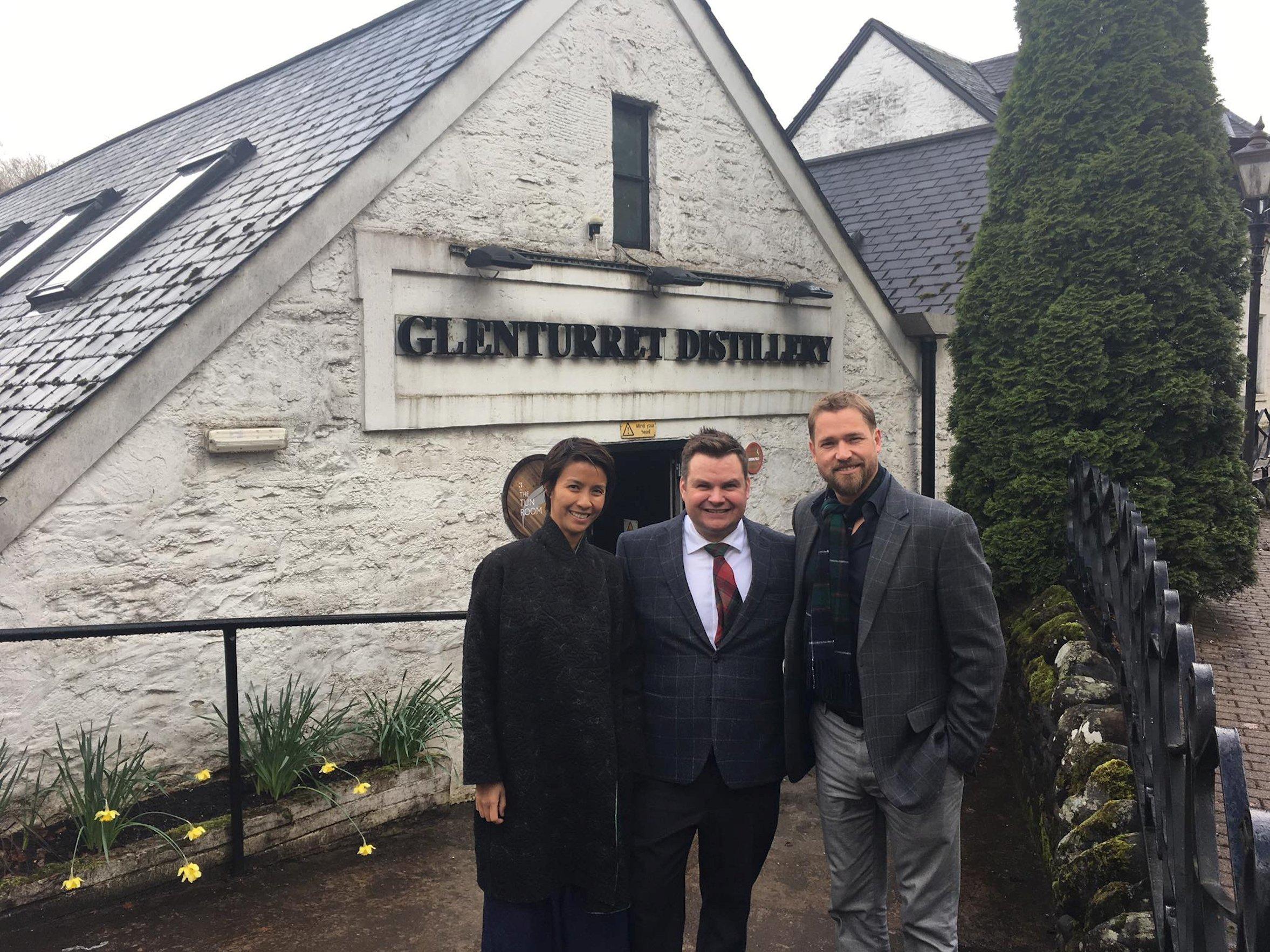 Delphine Yip, Glenturret Distillery general manager Stuart Cassells and Grant Horsfield.