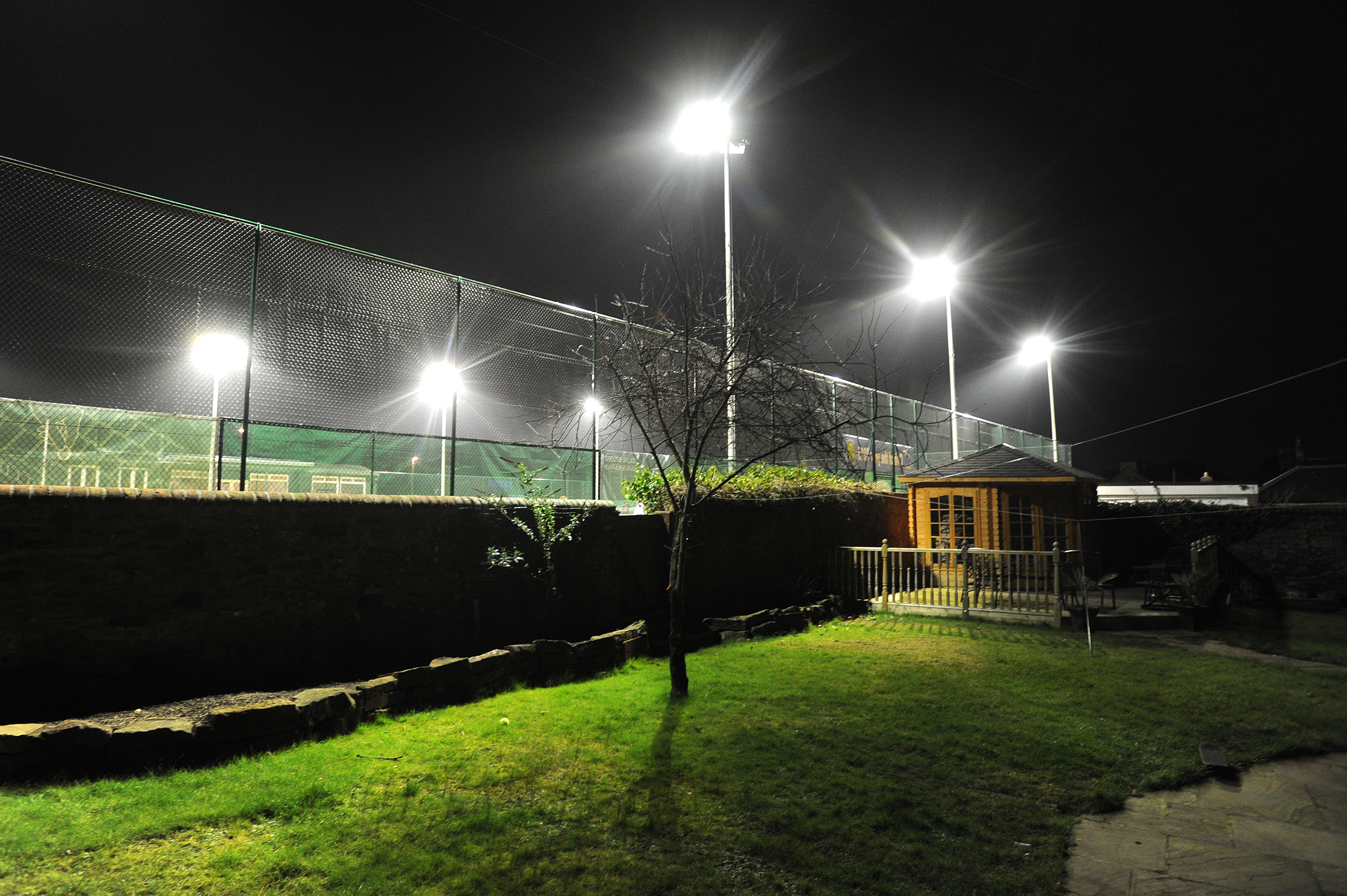 The club's facilities seen on a winter night from Dalhousie Place, Arbroath.