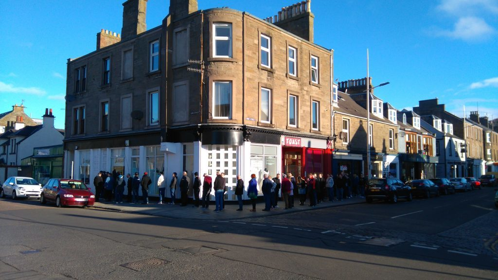 The queue at 7.30am outside Assai on Record Store Day 2016,