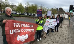 Fife EIS members outside the Kirkcaldy campus at Fife College during last week's strike.