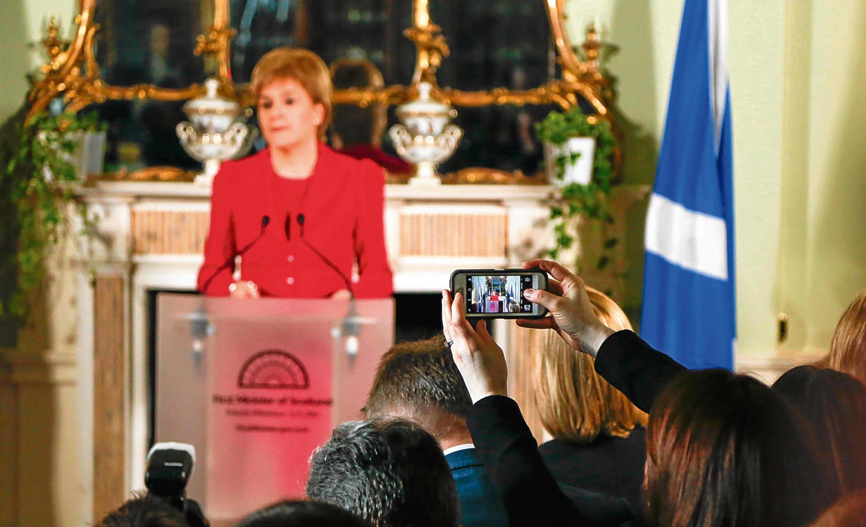 Nicola Sturgeon announces her referendum plans at Bute House in Edinburgh.
