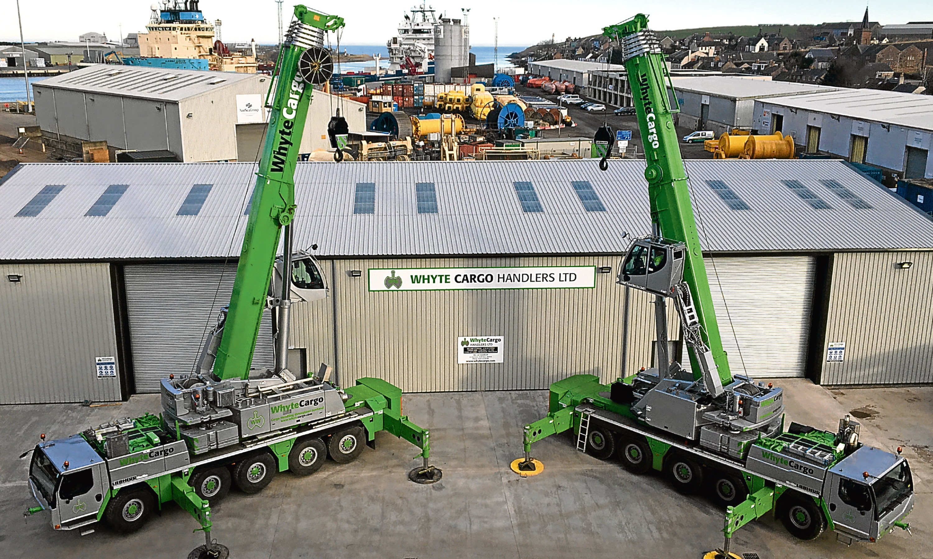 Whyte Cargo Handlers new warehouse at Montrose Port with their new Liebherr dockside cranes