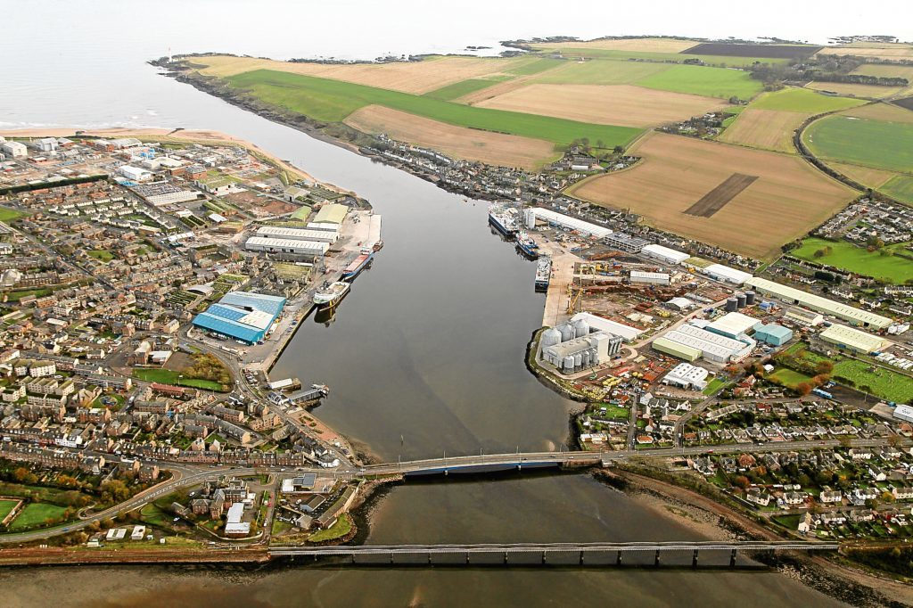 An aerial view of the Port of Montrose