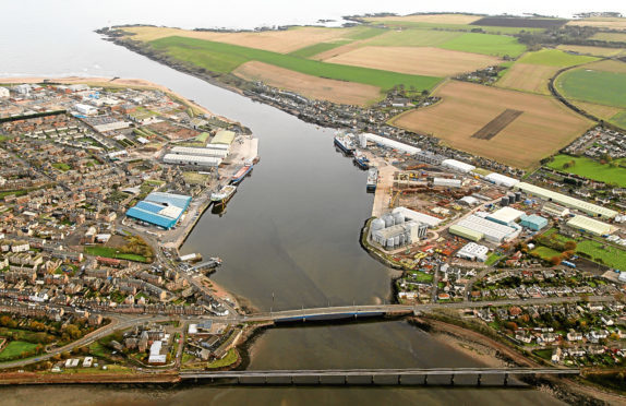 An aerial view of the Port of Montrose.