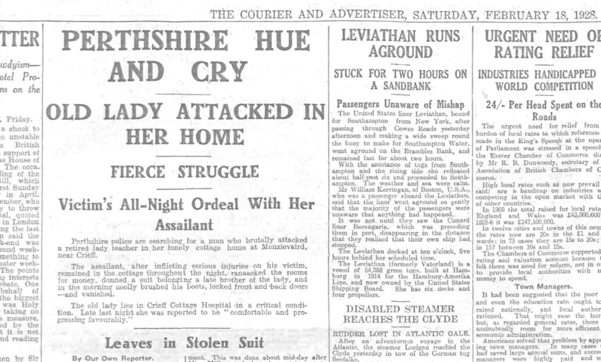 How we reported the Monzievaird attack.