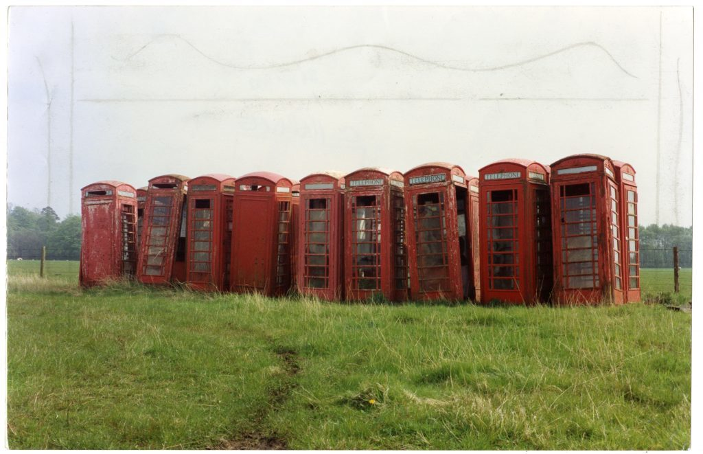 Decommissioned phone boxes lie in a field in Montrose in 1992.