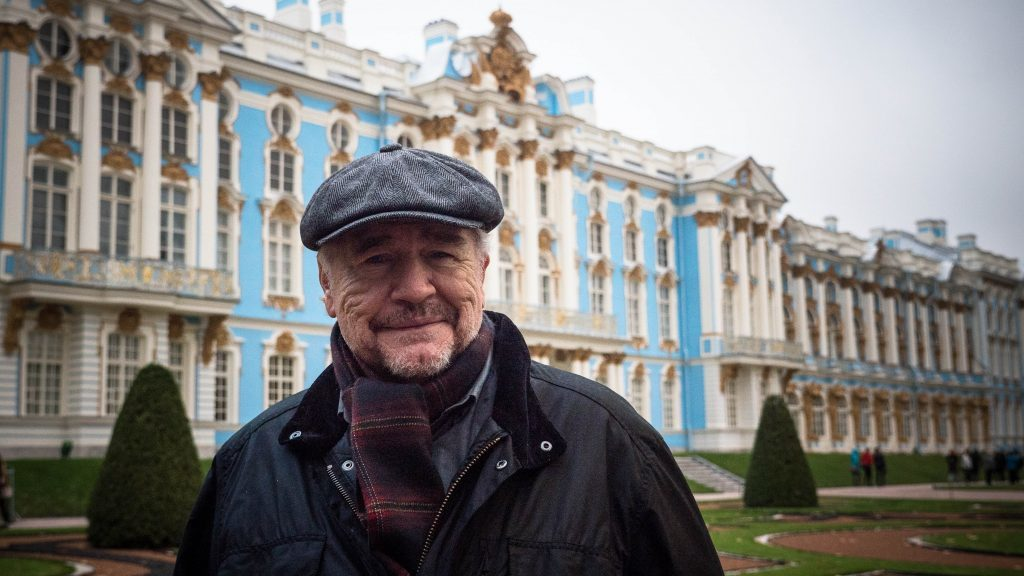 Brian Cox outside Catherine the Great's Palace, near St Petersburg