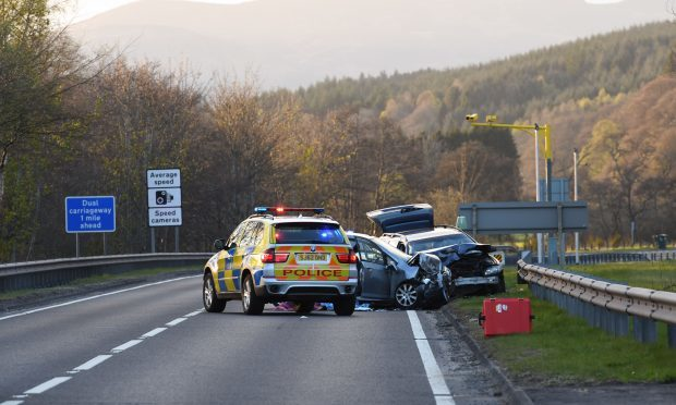 The scene of Friday's accident on the A9 at Kindallachan.